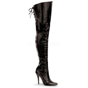 Shoes - Leather Heel Thigh High Boots Back Lace Up Pointy
